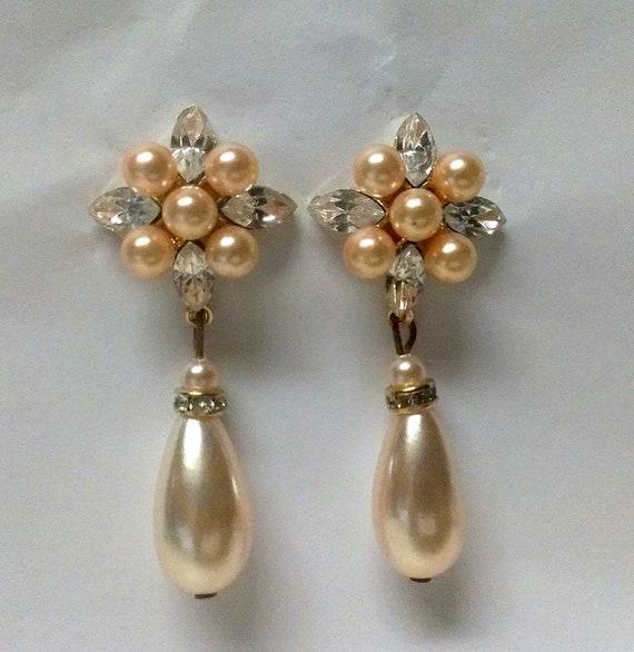 Bridal Earrings Gold Tone Pearl Tear Drop Cubic Zirconia Flower Motif  Dangle Posts