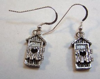 Pewter Outhouse Charms on Sterling Silver Ear Wire Dangle Earrings - Free Shipping in the US - (1703)