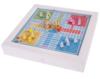 Vintage Ludo Parchis - Parcheesi board game made in wood