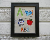 """Fabric Name Block """"A"""" Bright Colorful Fabric Picture  8 X 10 Framed Art"""
