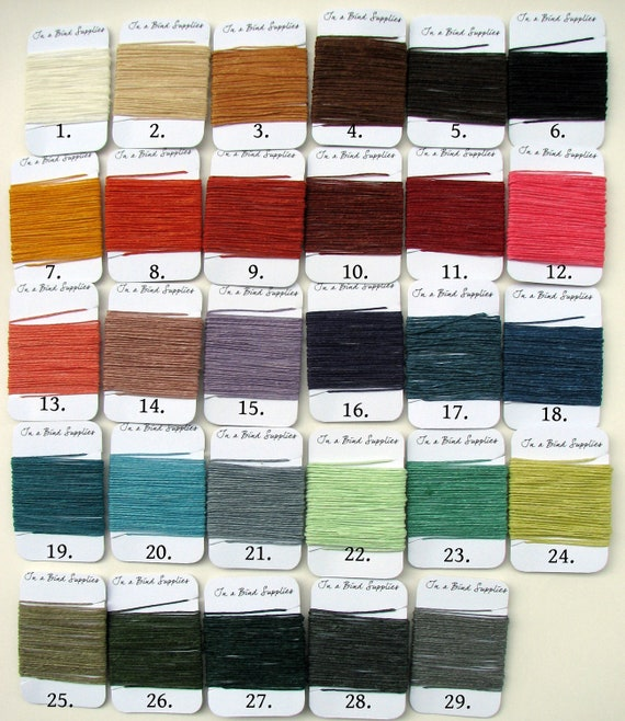 145 Yards total of Waxed Irish Linen Thread - All 29 colors.