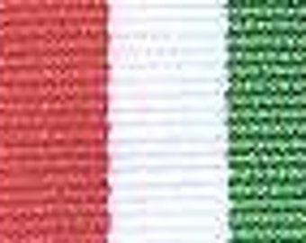 "Grosgrain Ribbon - Red, Green and White Stripe - 7/8"""