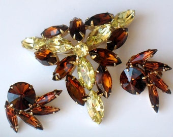 Autumn Amber Caramel Cream Brooch Earrings Yellow Amber Vintage Jewelry  High Fashion Possible Juliana Collectible Jewelry Autumn Winter