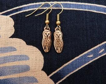 Bronze Barn Owl Earrings