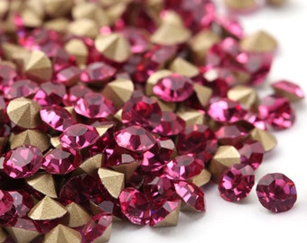 Rhinestone pointed back 1440pcs Rose 3mm