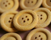 5 x 25mm Yellow Eco-Buttons made from recycled materials
