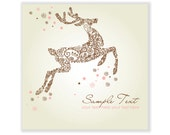 Christmas Deer, hand drawn cards and clipart, reindeer, snowflakes, Seasons Greetings templates, Personal and Commercial Use.