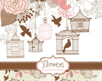 14 Flower Designs, birdcages, digital paper and a floral border - Clipart for scrapbooking, wedding invitations, Personal and Commercial Use
