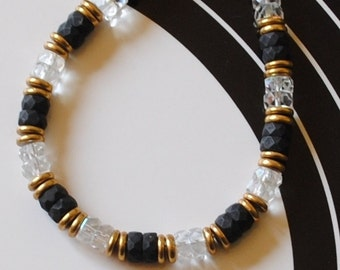 Black and crystal rondelle bracelet (#2)
