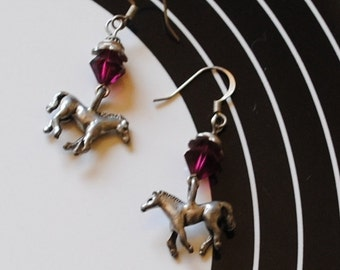 Ruby horse earrings