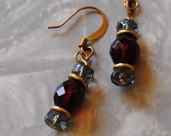 Purple and dark brown earrings