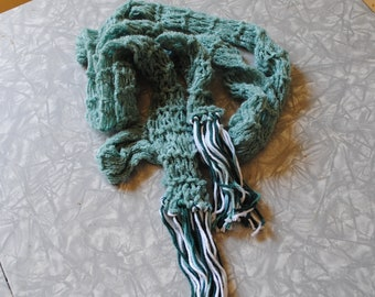 Blue and multi greens scarf