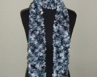 Handmade Blue and Grey Scarf
