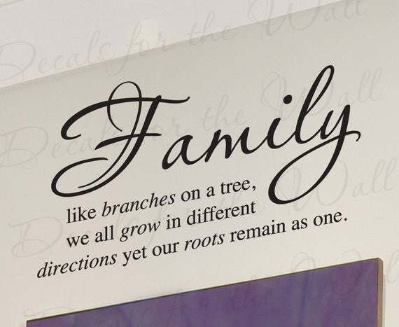 Family Like Branches On Tree We All Grow Love Home Wall Decal
