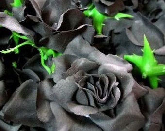 12 Black Roses Artificial Silk Flower Heads - 3.75 inches - Wholesale Lot - for Wedding Work, Make Hair clips, headbands, hats