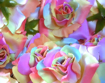 12 Light Rainbow Roses Artificial Silk Flower Heads - 3.75 inches - Wholesale Lot - for Wedding Work, Make Hair clips, headbands, hats