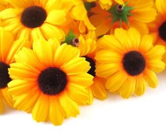 25 Yellow Gerbera Daisy Sun Flower Head - Artificial Silk Flower - 1.75 inches - Wholesale Lot - for Wedding, Make Hair clips, headbands