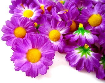 100 Violet Gerbera Daisy Heads - Artificial Silk Flower - 1.75 inches - Wholesale Lot - for Wedding work, Make Hair clips