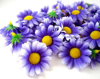 100 Purple with White Edge Gerbera Daisy Heads - Artificial Silk Flower - 1.75 inches - Wholesale Lot - for Wedding work, Make Hair clips