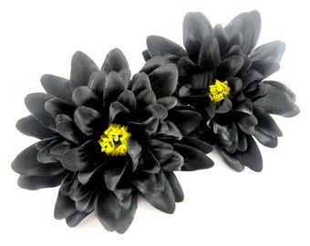 4 Black silk Dahlia heads - Artificial Flower - 4 inches - Wholesale Lot - for Wedding Work, Make Hair clips, headbands, hats