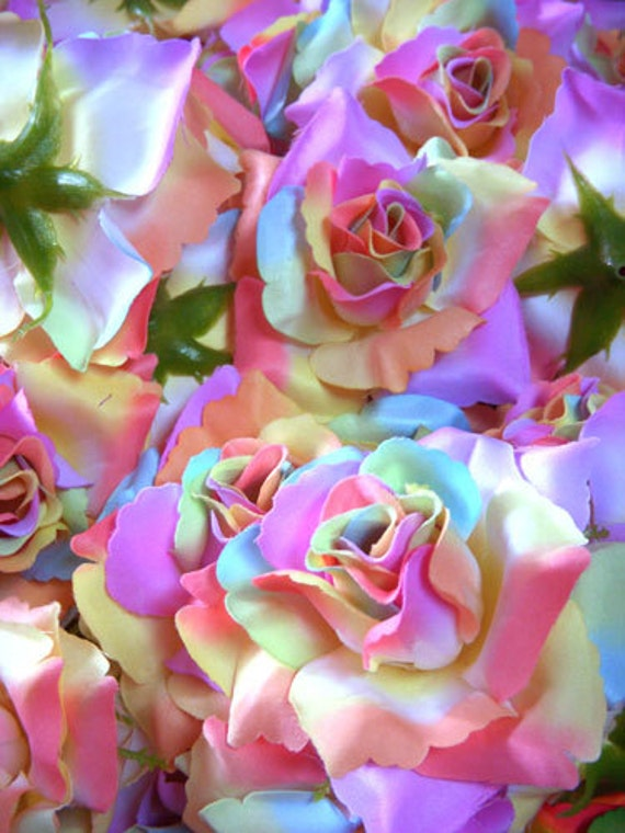 12 light rainbow roses artificial silk flower heads for How much are rainbow roses