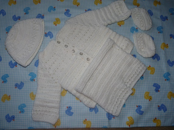Baby boy christening outfit hand crocheted white jacket, pants, hat & booties
