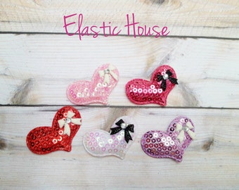 """5 pcs Sequin Heart with Bow Padded - Assorted Color - Size 1.5"""" - Valentine Appliques - Heart Appliques - DIY Hair Accessories Supplies"""