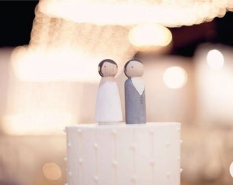 Wedding Cake Topper Wooden Peg Couple