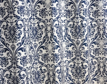 Navy Blue White Abigail Damask Curtains - Rod Pocket - 84 96 108 or 120 Long by 24 or 50 Wide - Optional Blackout or Cotton Lining