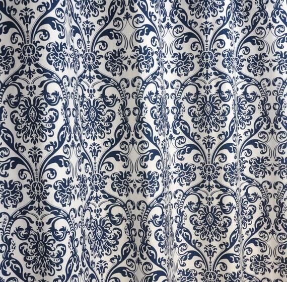 Navy blue white abigail damask curtains rod pocket 84 96 108 or