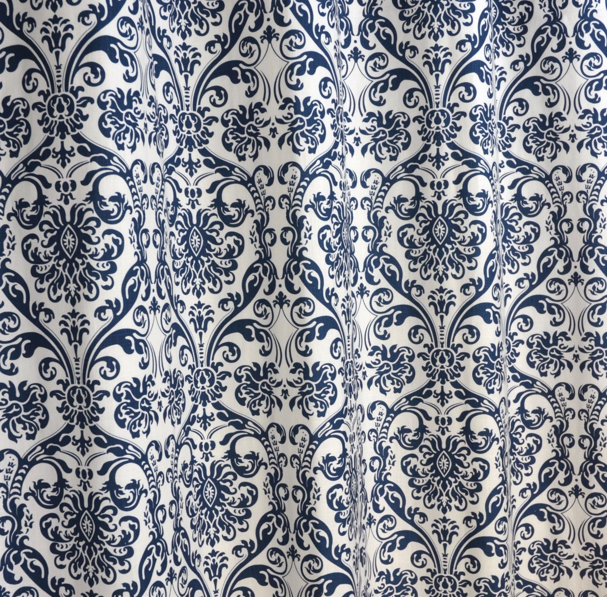 Navy Blue White Abigail Damask Curtains Rod Pocket 84 96