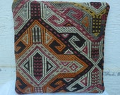 "5 DAYS DELIVERY/Modern Bohemian Home Decor ,HandmadeTurkish Kilim Soumak Weave Pillow Cover 16""x16"", Kilim Embroidery Pillow,Tribal Pillow."