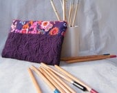Quilted pencil pouch / make up pouch 'Fleur d'aubergine'. MADE TO ORDER. Can be personalized for free