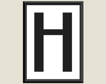 Typography Giclee Print Monogram Initial Wall Art Boogie Nights Letter H