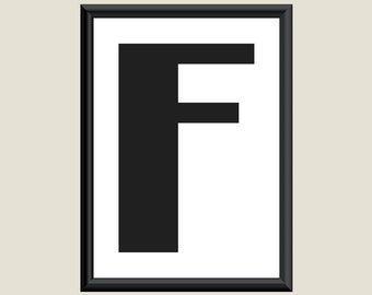 Typography DIGITAL PRINT Monogram Initial Wall Art Boogie Nights Letter F 5x7