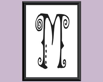 Typography Giclee Print Monogram Initial Wall Art SpaGirl Letter M