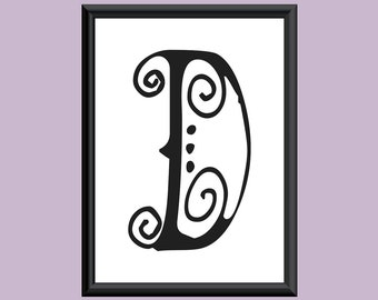 Typography DIGITAL PRINT Monogram Initial Wall Art SpaGirl Letter D 5x7