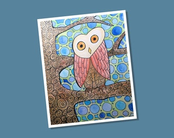 Groovy Barn Owl Giclee Print from Original Artwork