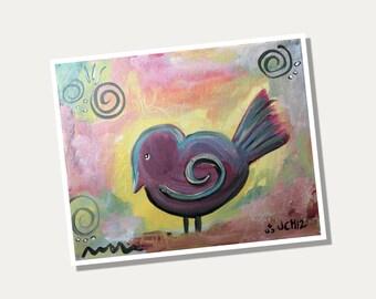 """Fat Bird 8"""" x 10"""" Giclee Print from Original Artwork"""