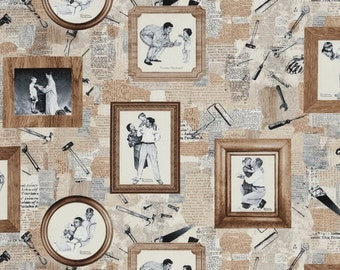 Norman Rockwell Fathers and Sons - Fabric By The Yard