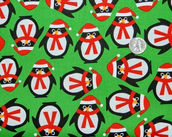 Jingle Penguins - Fabric By The Half Yard 18 inches x 44 inches
