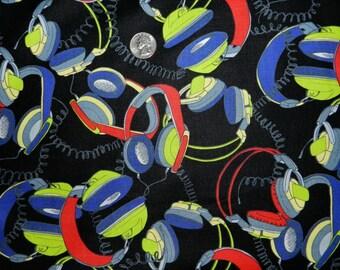 80's Headphones Retro - Fabric By The Yard
