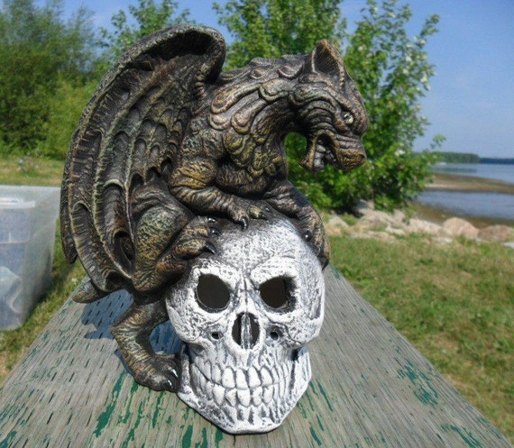Ceramic Gargoyle with Skull Incense or Candle Burner, hand painted - 7 inches, glow in the dark eyes, decor, halloween