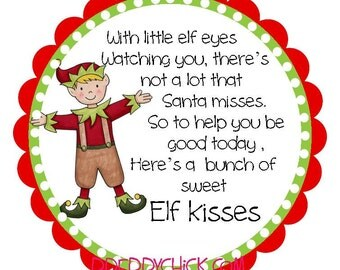 Elf kisses preppy christmas round labels stickers for christmas cards