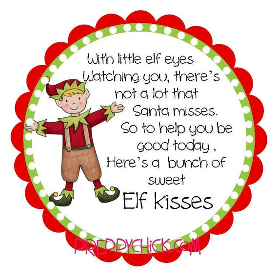 Elf Kisses Preppy Christmas Round Labels Stickers for Christmas Cards ...