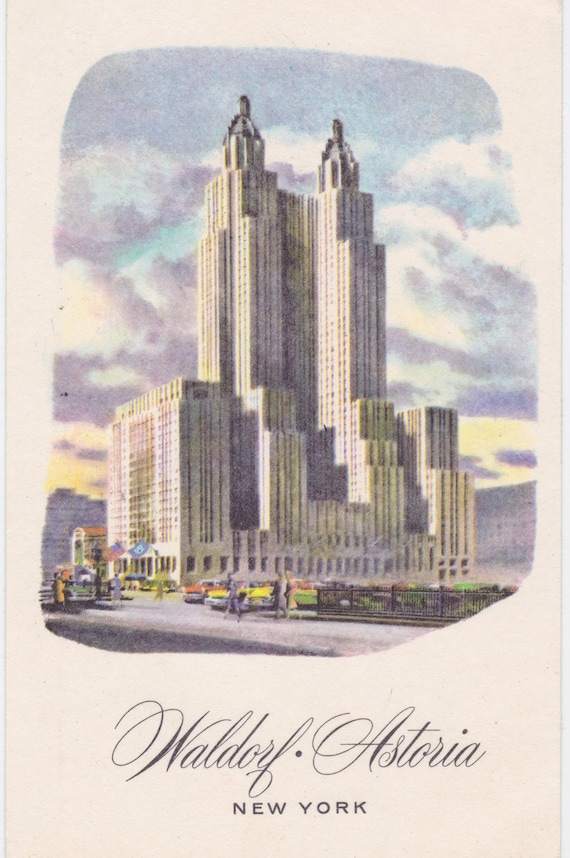 Waldorf astoria nyc new york vintage postcard stamped and for Waldorf astoria antiques