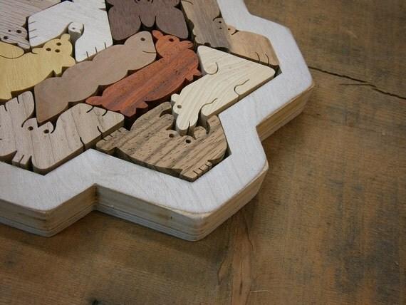 Hexiamond Unique Wood Puzzle Snowflake Frame