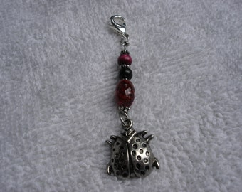 Beaded Zipper Pull with Silver Ladybug Charm