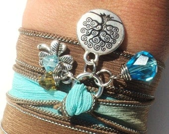 Tree of Life Silk Wrap Bracelet Hand Dyed Silk Wrap Yoga Jewelry Blue Brown Good Luck Anklet Necklace Earthy Unique Gift Under 50 Item Z38
