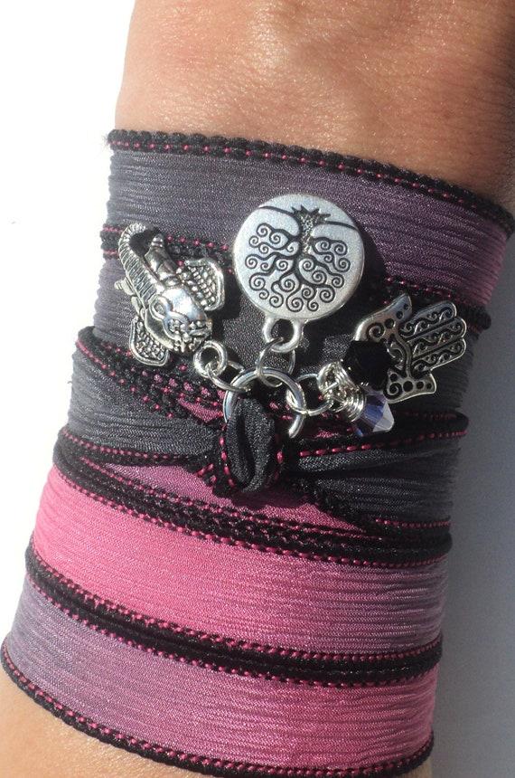Tree of Life Hamsa Sacred Elephant Silk Wrap Bracelet Yoga Jewelry Evil Eye Valentines Day Black Pink Unique Gift Under 50 Item Z17